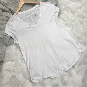 Ann Taylor LOFT White V-Neck Tee T-Shirt L